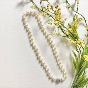 Ann Taylor Pearl Choker with Pave Crystal
